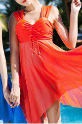 Graceful Sweetheart Neck Solid Color See-Through Asymmetrical Swimwear For Women -