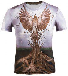 3D Eagle and Bole Printed Round Neck Short Sleeve T-Shirt For Men -