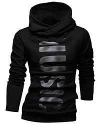 Classic Letters Pattern Front Pocket Fitted Hooded Long Sleeves Hoodie For Men -