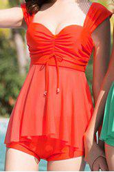 Fresh Style Sweetheart Neck Solid Color See-Through Swimwear For Women -