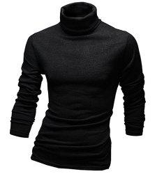 Laconic Solid Color Long Sleeves Turtleneck T-Shirt For Men - BLACK