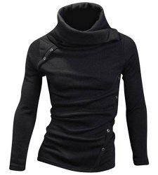 Vogue Heaps Collar Button Embellished Solid Color Long Sleeves Sweater For Men - BLACK M