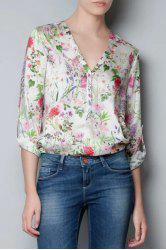 Sweet V-Neck Rolled Sleeve Floral Print Women's Shirt