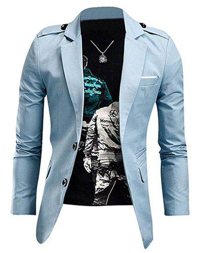 Laconic Lapel Stereo Patch Pocket Epaulet Design Long Sleeves Jacket For MenMEN<br><br>Size: XL; Color: LIGHT BLUE; Clothes Type: Jackets; Style: Fashion; Material: Cotton Blends; Collar: Turn-down Collar; Shirt Length: Regular; Sleeve Length: Long Sleeves; Season: Fall,Winter; Weight: 0.430kg; Package Contents: 1 x Jacket;