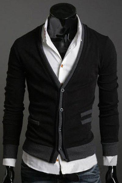 Affordable Casual V-Neck Color Splicing Patch Pocket Long Sleeves Cardigan For Men