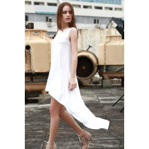 Stylish Round Neck Sleeveless White High-Low Hem Women's Dress - White - L