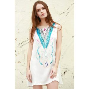 Stylish Round Neck Sleeveless Abstract Print Women's Mini Dress
