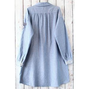Button Design Graphic Long Sleeve Tunic Shirt - BLUE ONE SIZE