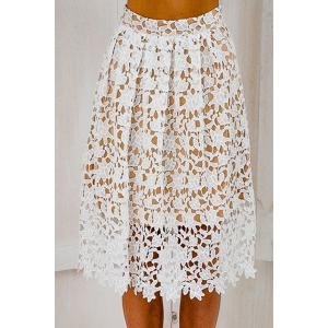 Stylish Elastic Waist Crochet Flower Lace Women's A-Line Skirt - White - L