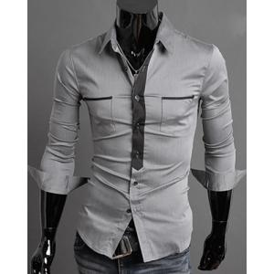 Classic Color Block Button Fly Double Pockets Shirt Collar Long Sleeves Shirt For Men - GRAY L
