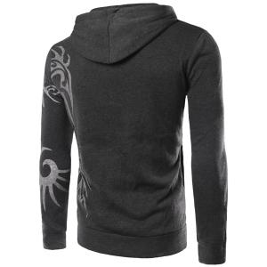 Fashion Hooded Personality Totem Print Long Sleeves Hoodie For Men - DEEP GRAY XL