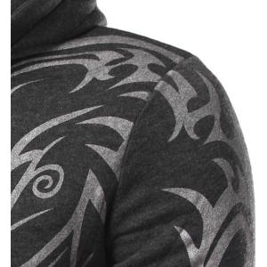 Fashion Hooded Personality Totem Print Long Sleeves Hoodie For Men - BLACK M