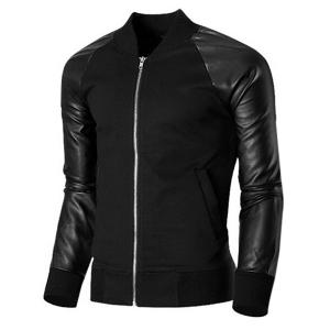 Trendy Stand Collar PU Leather Splicing Rib Hem Long Sleeves Jacket For Men -