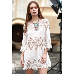 Sheer Crochet Panel Beach Tunic Cover Up -