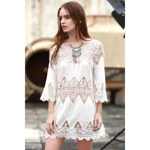 Sheer Crochet Panel Beach Tunic Cover Up - WHITE ONE SIZE(FIT SIZE XS TO M)