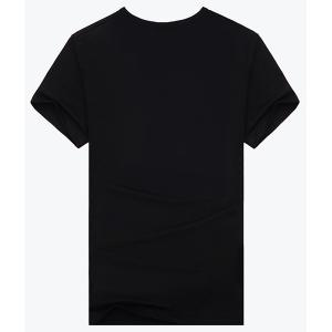 3D Horse and Moon Print Short Sleeves Round Neck Black T-Shirt For Men -