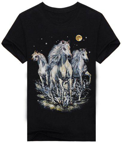 Fancy 3D Horse and Moon Print Short Sleeves Round Neck Black T-Shirt For Men