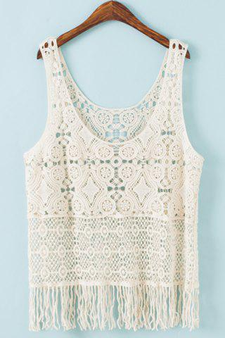 Scoop Neck Fringed Lace Tank Top For Women 170073201
