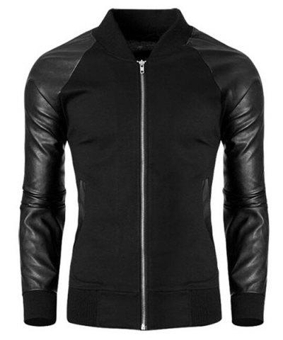 Latest Trendy Stand Collar PU Leather Splicing Rib Hem Long Sleeves Jacket For Men - L BLACK Mobile