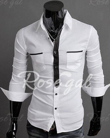 Classic Color Block Button Fly Double Pockets Shirt Collar Long Sleeves Shirt For Men от Rosegal.com INT