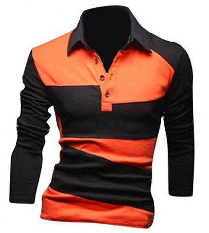 Shop Classic Color Lump Splicing Turn-down Collar Long Sleeves Polo T-Shirt For Men - XL ORANGE Mobile