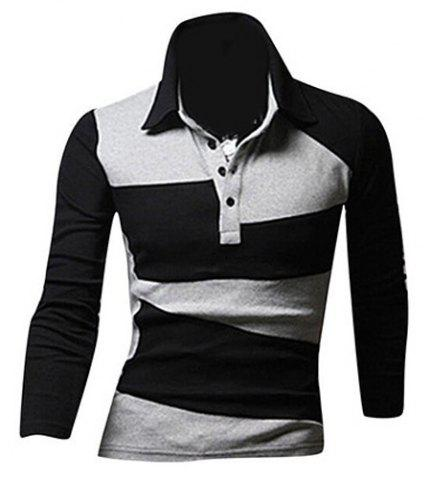 Fancy Classic Color Lump Splicing Turn-down Collar Long Sleeves Polo T-Shirt For Men - 2XL BLACK Mobile