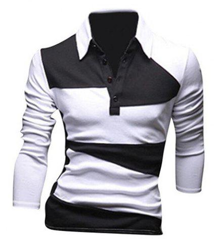 Unique Classic Color Lump Splicing Turn-down Collar Long Sleeves Polo T-Shirt For Men - XL WHITE Mobile