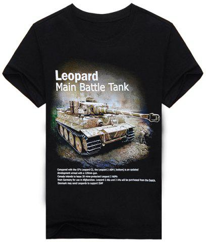 Unique Hot Sale Letters and Tank Pattern Round Neck Short Sleeves 3D Printed T-Shirt For Men