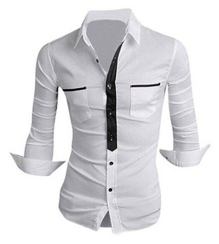 Hot Classic Color Block Button Fly Double Pockets Shirt Collar Long Sleeves Shirt For Men - 2XL WHITE Mobile