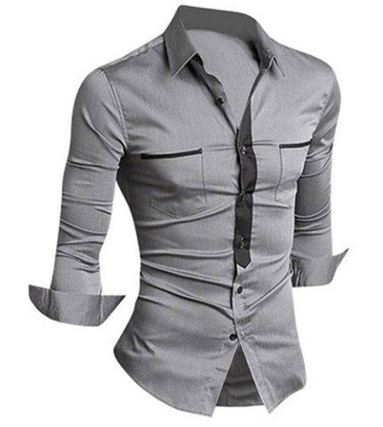 Best Classic Color Block Button Fly Double Pockets Shirt Collar Long Sleeves Shirt For Men GRAY L