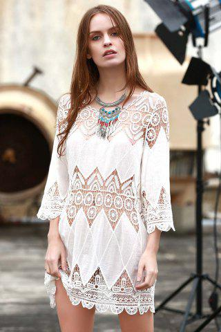 Discount Sheer Crochet Panel Beach Tunic Cover Up WHITE ONE SIZE(FIT SIZE XS TO M)