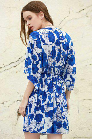 Womens Vintage Porcelain Print Loose Midi Dress - ONE SIZE(FIT SIZE XS TO M) BLUE AND WHITE Mobile