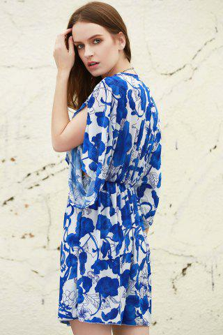 Latest Vintage Porcelain Print Loose Midi Dress - ONE SIZE(FIT SIZE XS TO M) BLUE AND WHITE Mobile