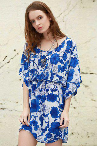 Store Vintage Porcelain Print Loose Midi Dress - ONE SIZE(FIT SIZE XS TO M) BLUE AND WHITE Mobile