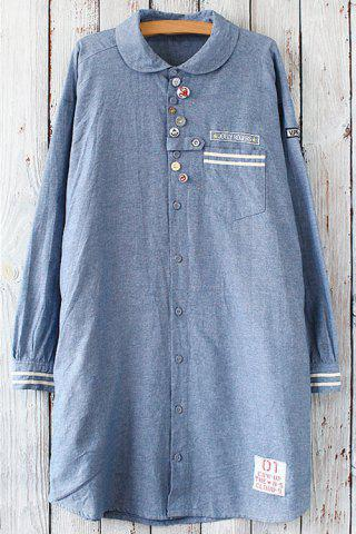 Button Design Graphic Long Sleeve Tunic Shirt - Blue - One Size