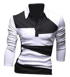 Classic Color Lump Splicing Turn-down Collar Long Sleeves Polo T-Shirt For Men - WHITE