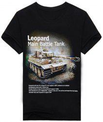 Hot Sale Letters and Tank Pattern Round Neck Short Sleeves 3D Printed T-Shirt For Men -