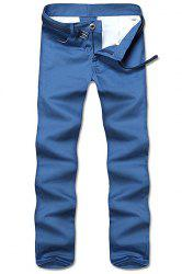 Straight Leg Solid Color Zipper Fly Men's Nine Minutes Of Pants - BLUE