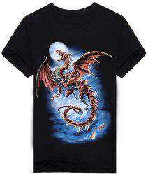 Abstract 3D Dragon and Moon Print Round Neck Short Sleeves Black T-Shirt For Men -