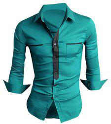 Classic Color Block Button Fly Double Pockets Shirt Collar Long Sleeves Shirt For Men - GREEN