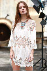 Round Neck 3/4 Sleeve Openwork Appliqued Women's White Cover-Up Dress - WHITE