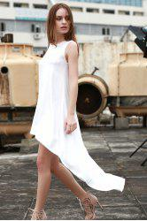 Stylish Round Neck Sleeveless White High-Low Hem Women's Dress