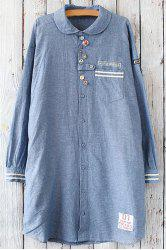 Button Design Long Sleeve Tunic Shirt