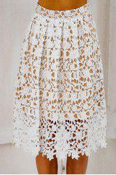 Stylish Elastic Waist Crochet Flower Lace Women's A-Line Skirt