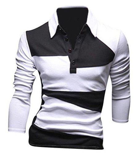Unique Classic Color Lump Splicing Turn-down Collar Long Sleeves T-Shirt For Men