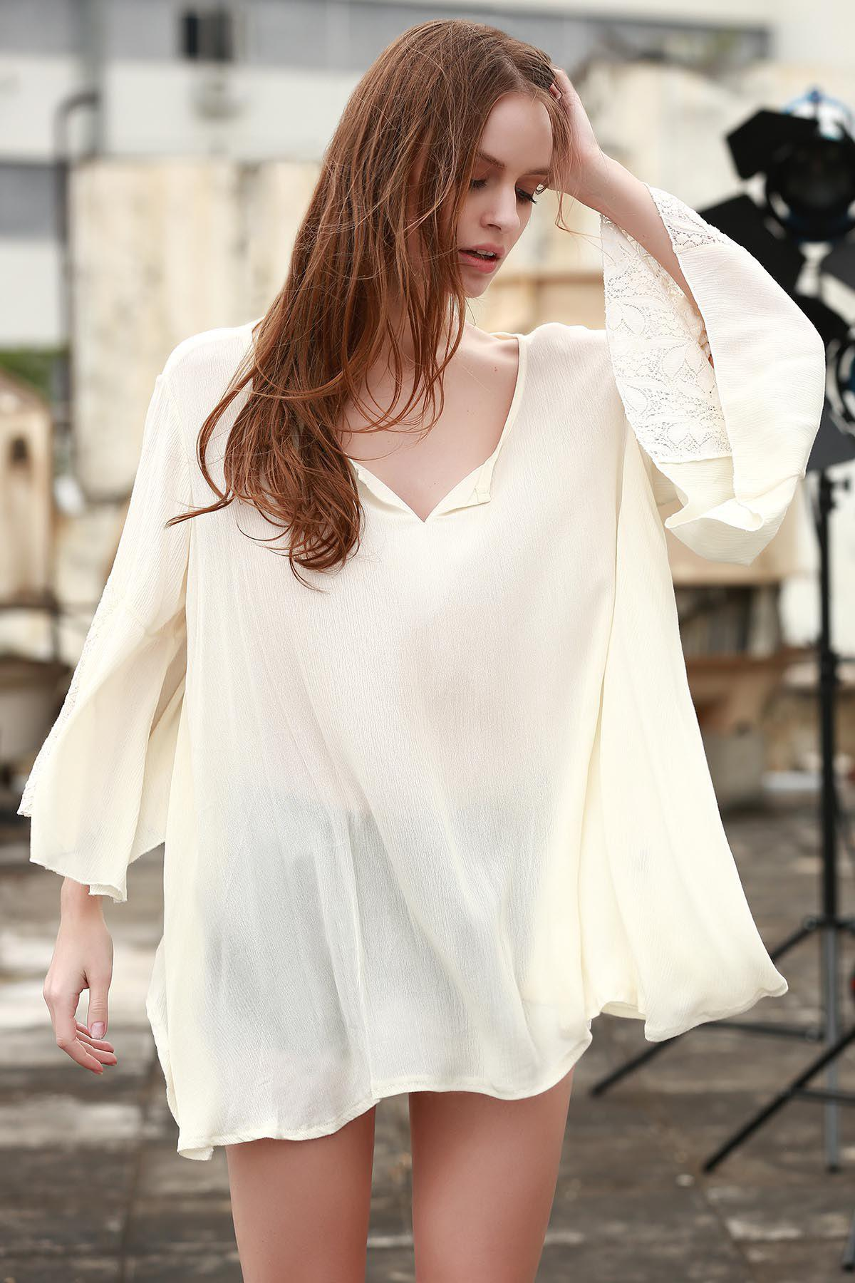 Shops Casual Style V-Neck Lace Splicing Solid Color Long Sleeve Dress For Women