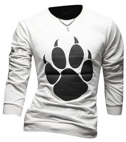 Trendy Round Neck Bear's Paw Design Long Sleeve T-Shirt For Men - 2XL WHITE Mobile