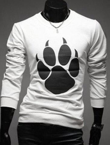 Sale Round Neck Bear's Paw Design Long Sleeve T-Shirt For Men - 2XL WHITE Mobile