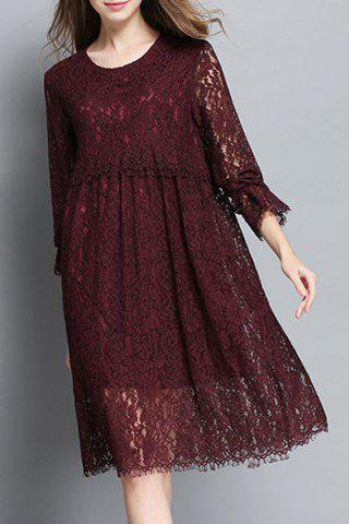 Discount Stylish Jewel Neck 3/4 Sleeve Solid Color Hollow Out Dress For Women