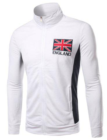 Outfits Stand Collar England Flag and Letter Embroidered Long Sleeve Jacket For Men
